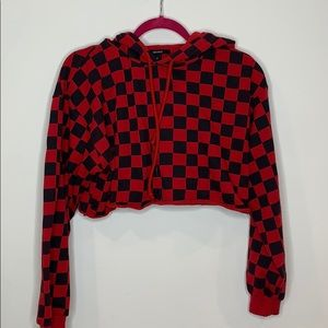 Red and black checkered cropped sweater